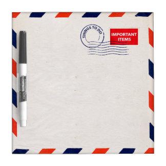 tablero seco del borrado del sobre del correo aére pizarras