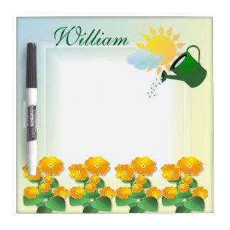 Tablero seco del borrado del ~ soleado de las flor pizarras