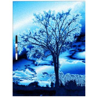 Tablero seco helado azul del borrado del árbol pizarras blancas