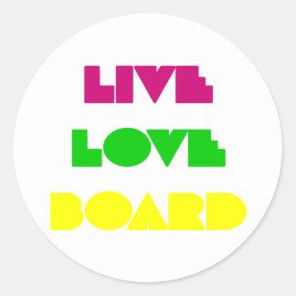Tablero vivo del amor de BoardChick Pegatina Redonda