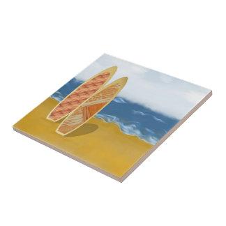 Tableros de resaca en el arte de la playa azulejo cuadrado pequeño