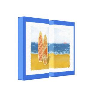 Tableros de resaca en el arte envuelto playa de la impresión en lona estirada