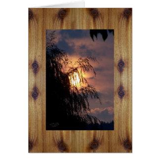 Tableros del cedro y silueta nudosos del sauce de tarjeta de felicitación