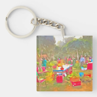 Tables and chairs at an exhibition keychain
