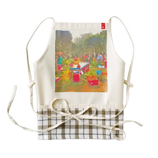 Tables and chairs at an exhibition zazzle HEART apron