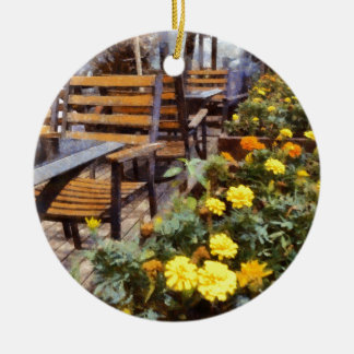Tables and chairs with flowers ceramic ornament