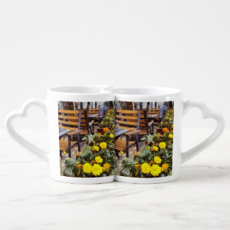 Tables and chairs with flowers coffee mug set