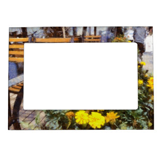 Tables and chairs with flowers magnetic frame