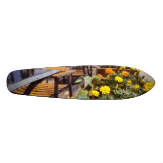 Tables and chairs with flowers skateboard deck