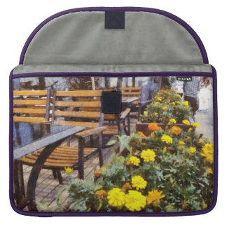 Tables and chairs with flowers sleeve for MacBook pro