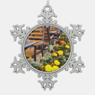 Tables and chairs with flowers snowflake pewter christmas ornament