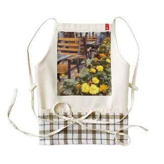 Tables and chairs with flowers zazzle HEART apron