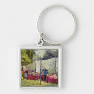 Tables at an exhibition keychain