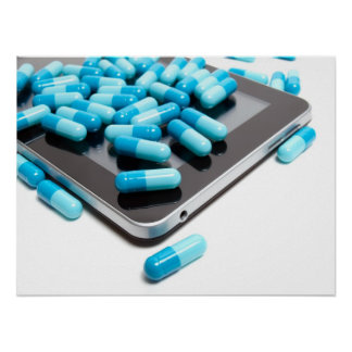 Tablet and pills poster