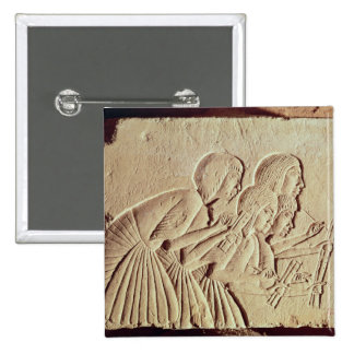Tablet depicting four scribes at work 2 inch square button