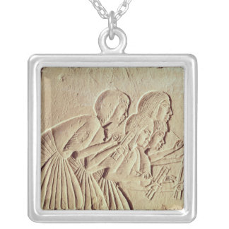 Tablet depicting four scribes at work square pendant necklace