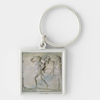 Tablet depicting Hercules Silver-Colored Square Keychain