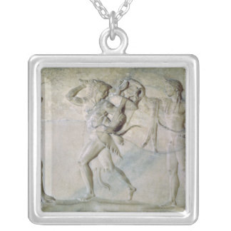 Tablet depicting Hercules Square Pendant Necklace