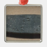 Tablet inscribed in 'Linear B'  sheep Square Metal Christmas Ornament