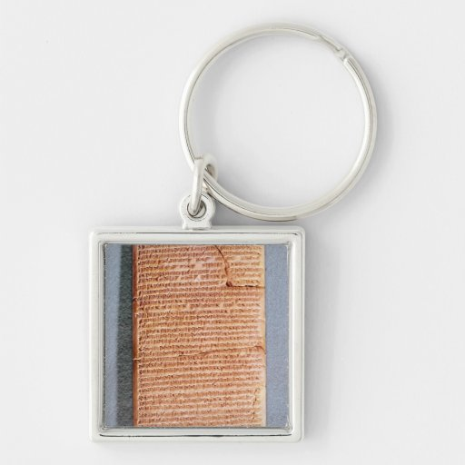 Tablet relating the ritual sacrifices Silver-Colored square keychain