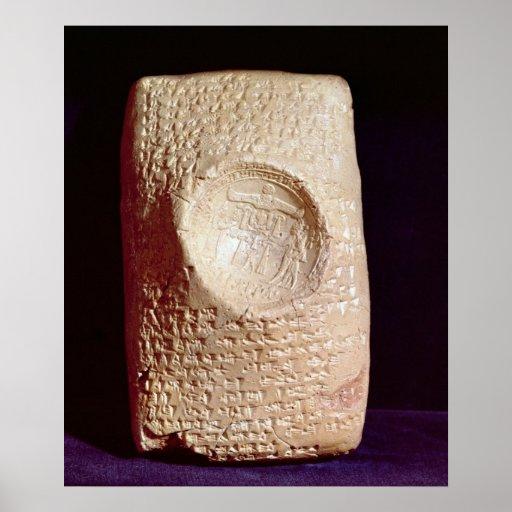 Tablet with cuneiform inscription poster
