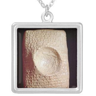 Tablet with cuneiform inscription square pendant necklace