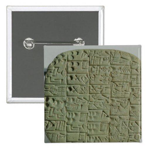 Tablet with cuneiform script pinback button