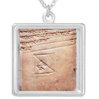 Tablet with cuneiform script, c.1830-1530 BC Square Pendant Necklace