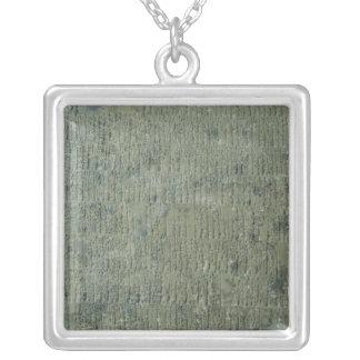 Tablet with cuneiform script square pendant necklace