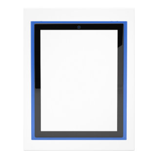 Tablet with empty screen letterhead