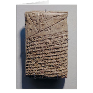 Tablet with fourteen lines of a mathematical text card