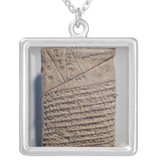 Tablet with fourteen lines of a mathematical text silver plated necklace