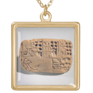 Tablet with pictographic inscription, Protoliterat Square Pendant Necklace