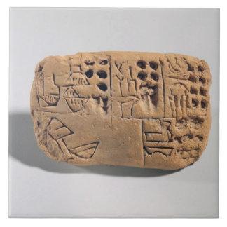 Tablet with pictographic inscription, Protoliterat Large Square Tile