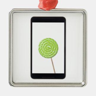 Tableta androide con el lollipop adorno navideño cuadrado de metal