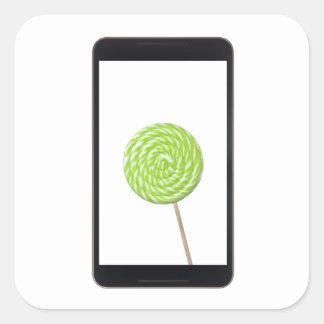 Tableta androide con el lollipop pegatina cuadrada