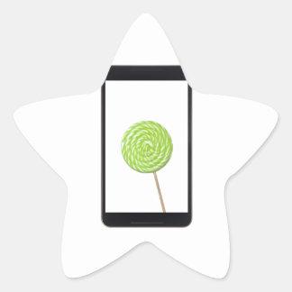 Tableta androide con el lollipop pegatina en forma de estrella