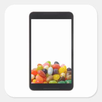 Tableta androide con la haba de jalea pegatina cuadrada