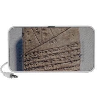 Tableta con catorce líneas de un texto matemático iPod altavoces