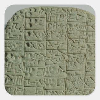 Tableta con la escritura cuneiforme calcomania cuadradas personalizada