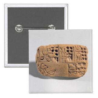 Tableta con la inscripción pictográfica, Protolite Pin Cuadrado