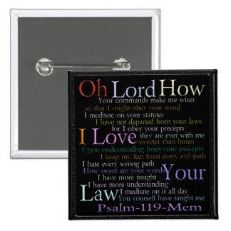 Tableta de piedra de Mem del salmo 119 Pin Cuadrado