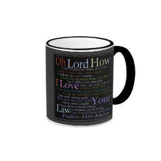 Tableta de piedra de Mem del salmo 119 Taza De Dos Colores