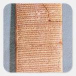 Tableta que relaciona los sacrificios del ritual pegatinas cuadradases