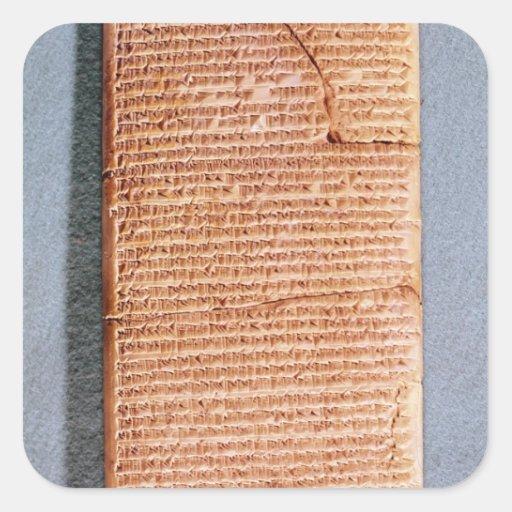 Tableta que relaciona los sacrificios del ritual pegatina cuadrada