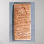 Tableta que relaciona los sacrificios del ritual póster