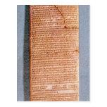 Tableta que relaciona los sacrificios del ritual postal