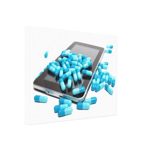 Tableta y píldoras lona envuelta para galerías
