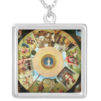 Tabletop of the Seven Deadly Sins Silver Plated Necklace