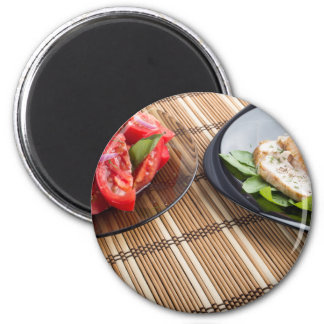 Tabletop with homemade dishes magnet